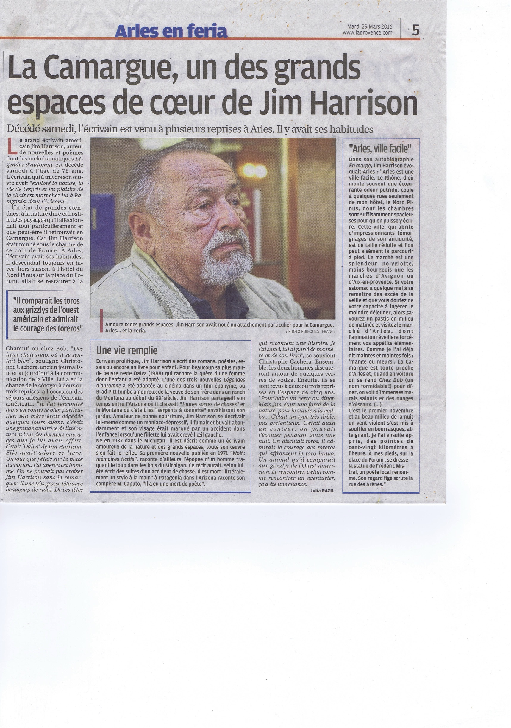 article sur Jim Harrison