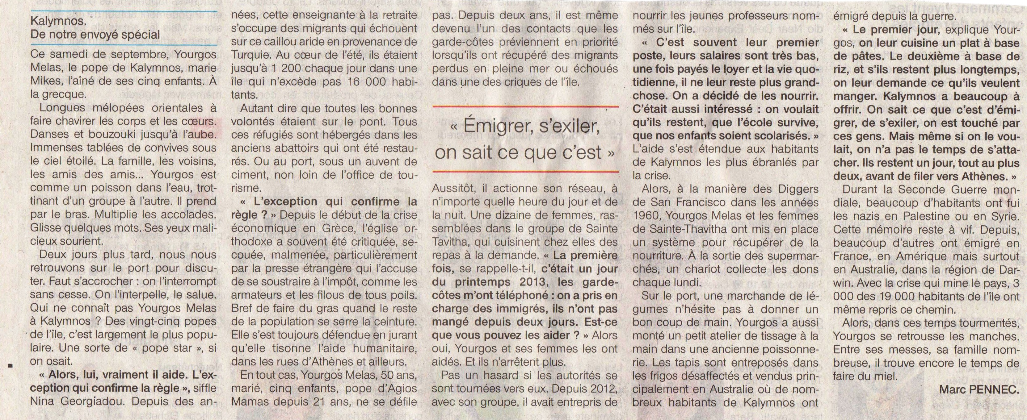 Kalymnos Article de Ouest France