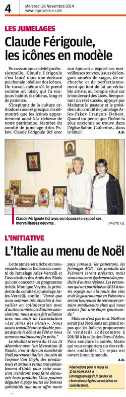 Journal  La Provence du 26 novembre