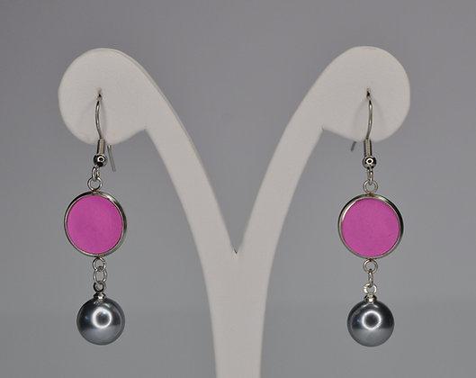pink haging earring