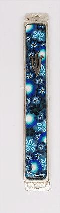 מזוזה יציקה - כחול פרחים