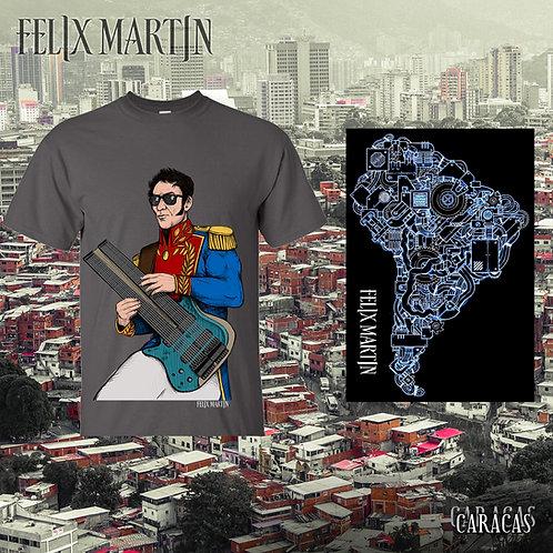 Caracas + Simon Bolivar T-shirt + Sticker + String Bundle