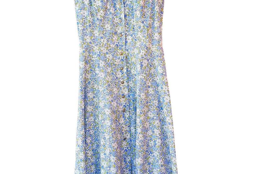Robe longue à fleurs bleue - Taille S - 36/38