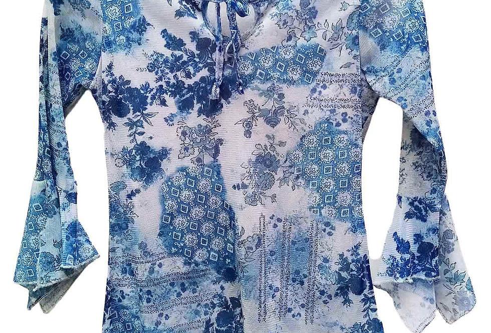 Top Mesh fleur bleue - Taille S