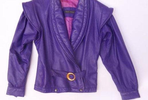Veste cuir ultra-violette 80's - Taille S/M