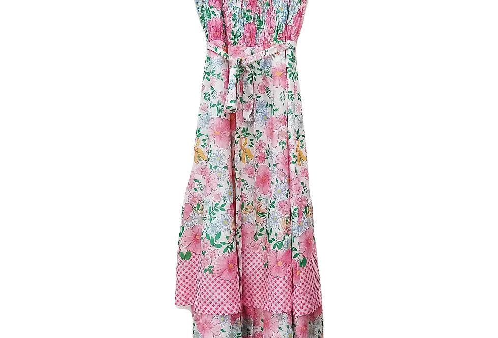 Robe Longue 60s Vichy et fleurs - Taille M - 38/40