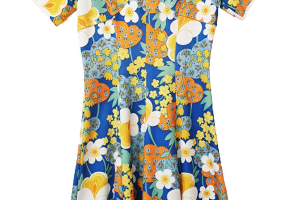 Robe évasée 60s à fleurs - Taille 38