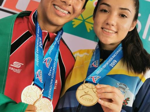 Juan Carlos y María Paula monopolizan el Poomsae juvenil en los JDN 2019