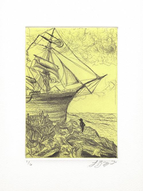 yellow green cornwall shipwreck etching