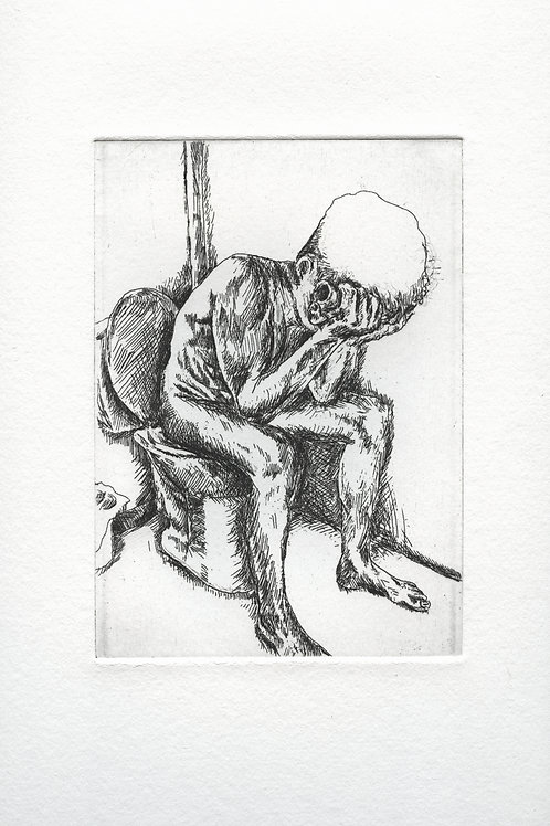 on eternity's toilet (after van gogh) etching
