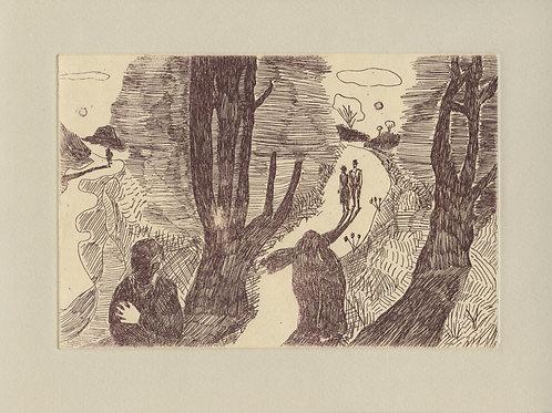 landscape (after munch) etching