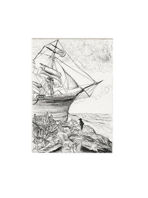 cornwall shipwreck etching