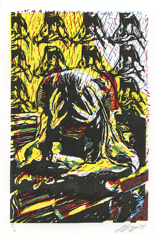 sorrow's four colors linocut
