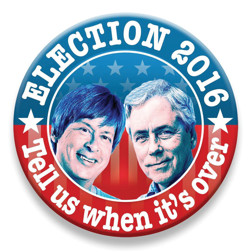 Button for event by Miami Herald columnists Dave Barry and Carl Hiaasen