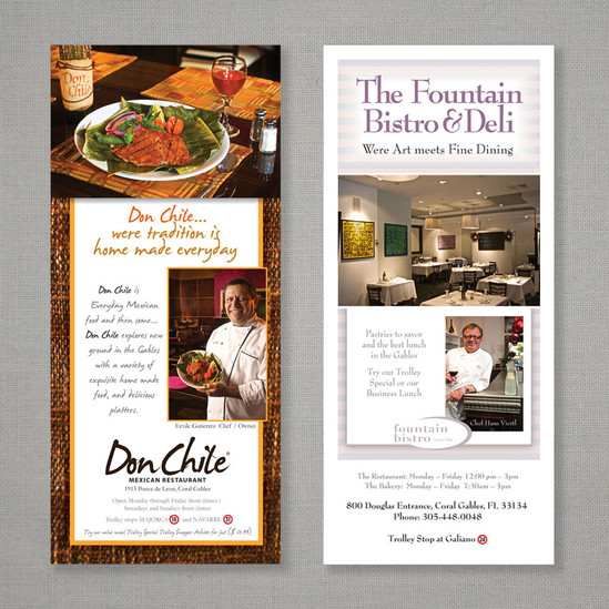 Ads created for the Coral Gables Troley Guide