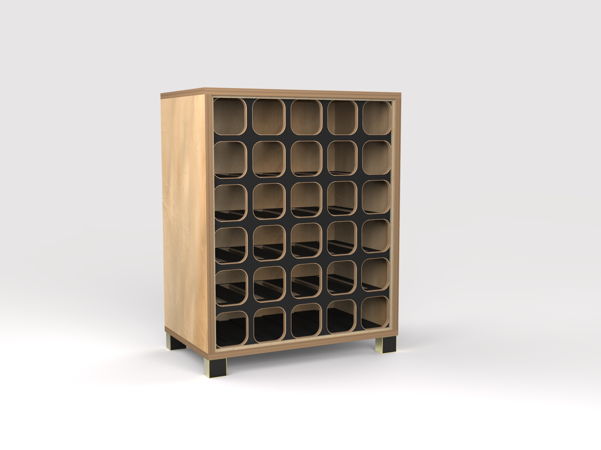 DT Wine Rack - maple-blk