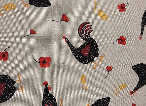 Hühner und rote Blumen