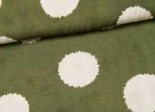 Viskose Leinen - Silas - big dots grün creme von Swafing