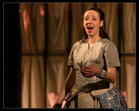 Alison performing as Polly Peachum in the York University Production of Gay's the Beggar's Opera (2014)