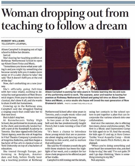 Article on Alison from the Telegraph Journal