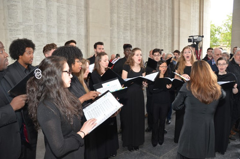 Alison performing with the York University Chamber Choir at the Last Post Ceremony in Ypres, Belgium (2015)