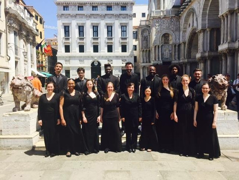 Alison with the York University Chamber Choir following a performance at St. Mark's Basilica in Venice, Italy (2015)