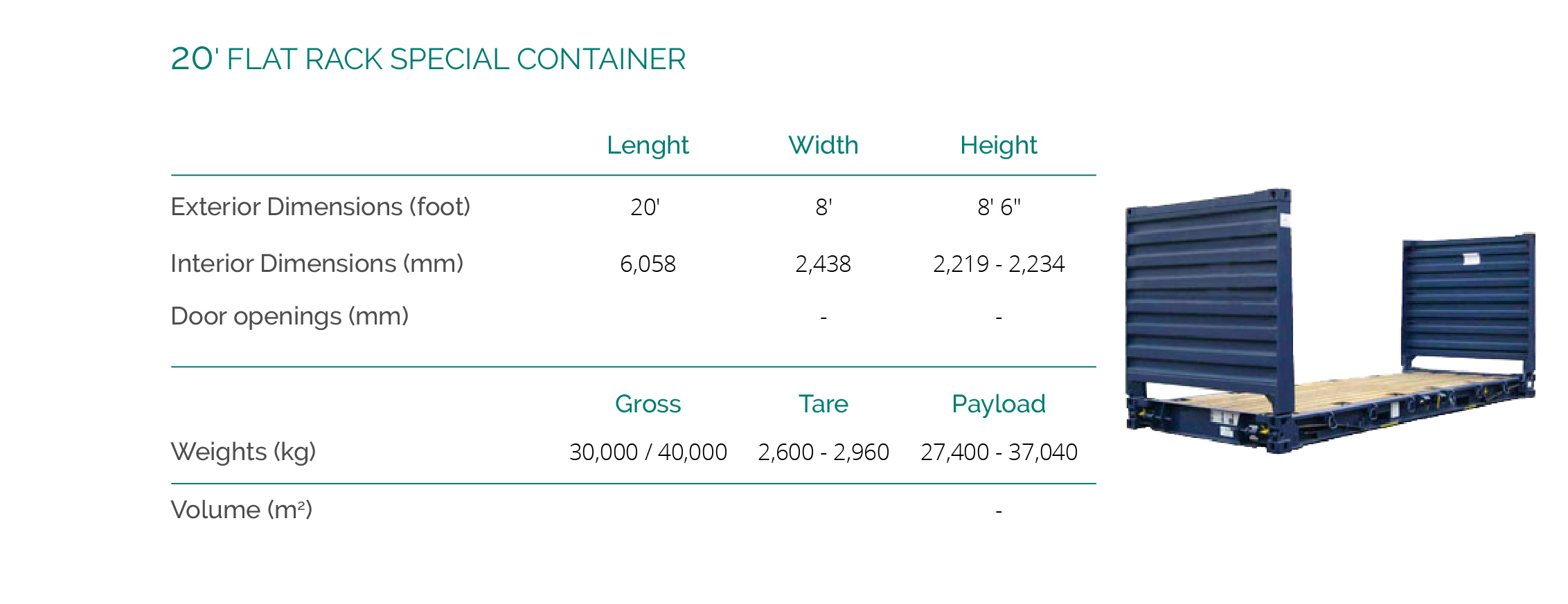 20' FLAT RACK SPECIAL CONTAINER