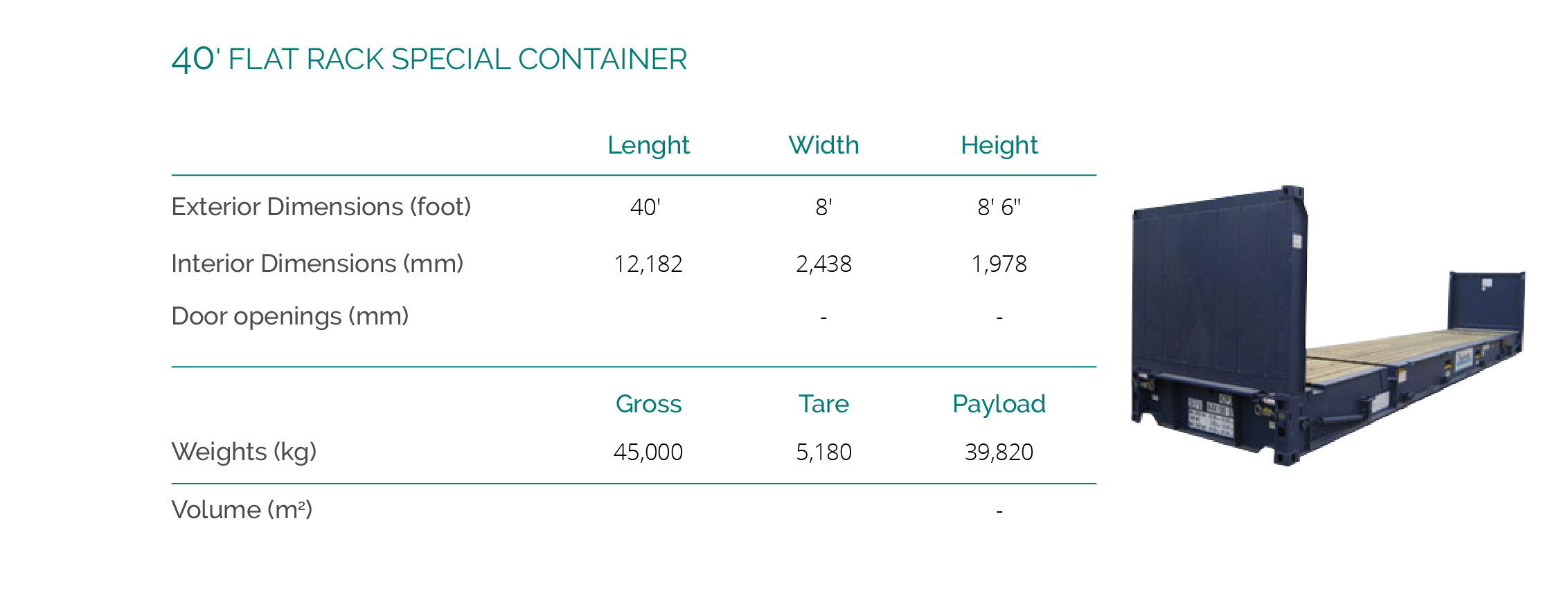 40' FLAT RACK SPECIAL CONTAINER