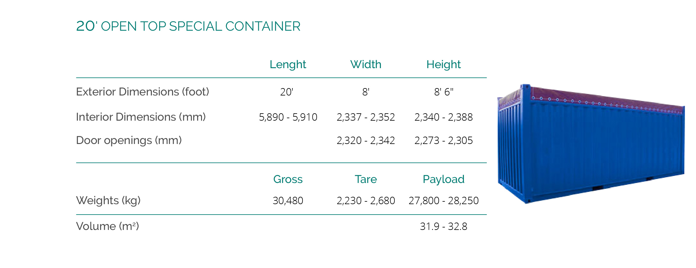 20' OPEN TOP SPECIAL CONTAINER