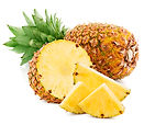 pineapple fruit with slices isolated on