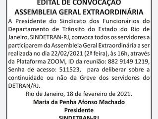 CONVOCAÇÃO PARA ASSEMBLEIA GERAL EXTRAORDINÁRIA DOS SERVIDORES PÚBLICOS DO DETRAN RJ.