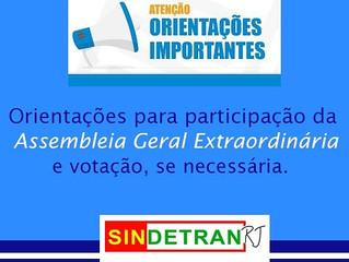 Assembleia Geral Extraordinária Sindetran-RJ Reagendada para o dia 25/01/21.