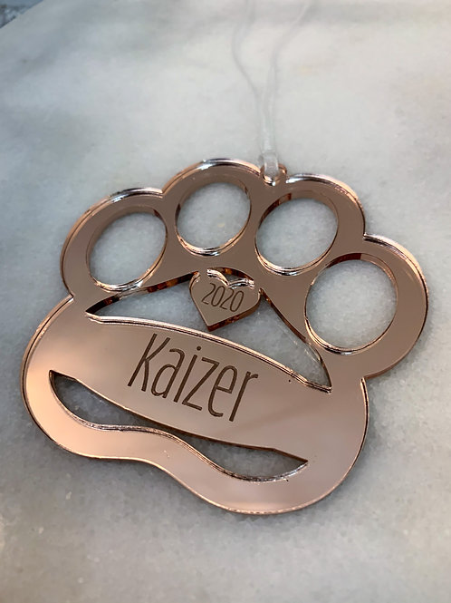 Personalised Engraved Paw Mirrored Christmas Decoration