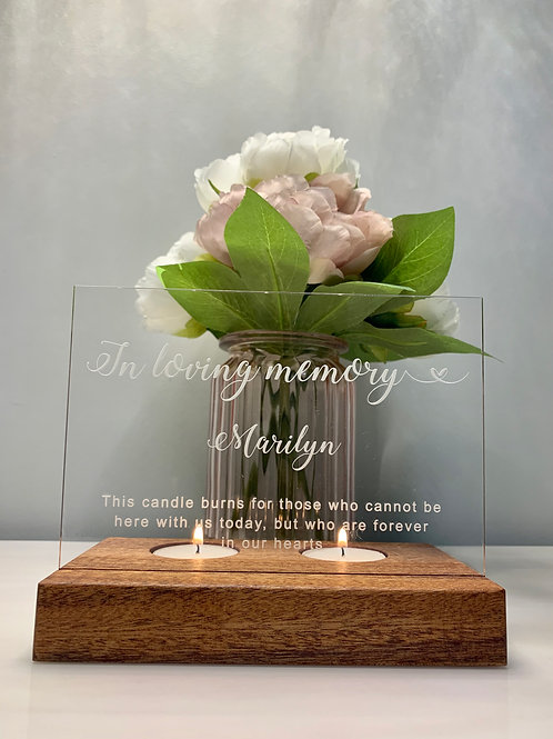 'In Loving Memory' Double Tea Light holder