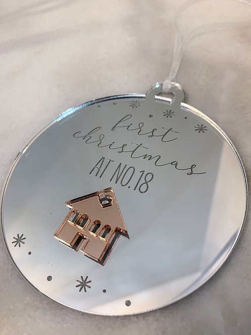 Personalised Engraved First Home Mirrored Christmas Decoration