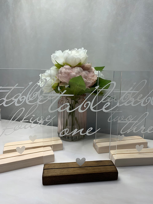 Engraved table numbers - clear acrylic