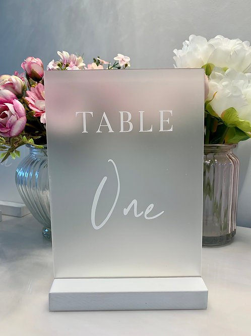 Engraved table numbers - frost acrylic