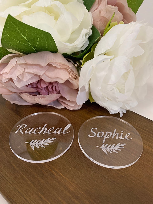 Acrylic circle place name settings