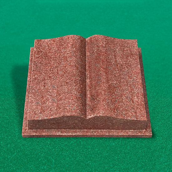 RØD gravsten bogformet poleret