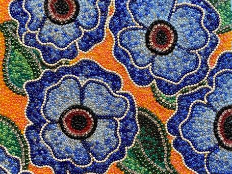 Blue Flowers on Orange