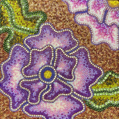 Purple Flower Gold Background