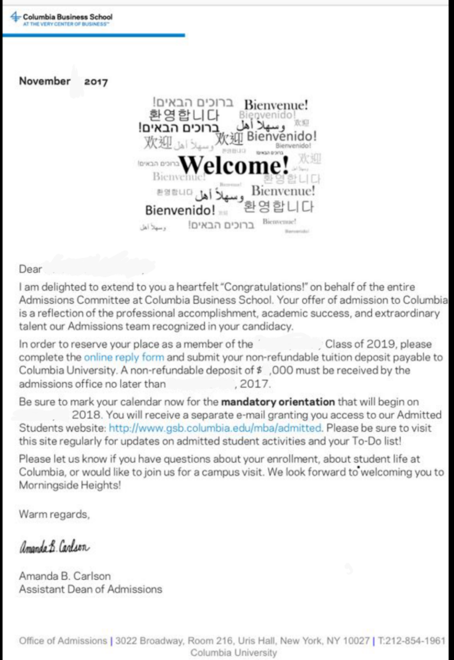 Admit Letter