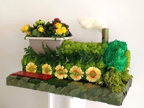 Train floral tribute