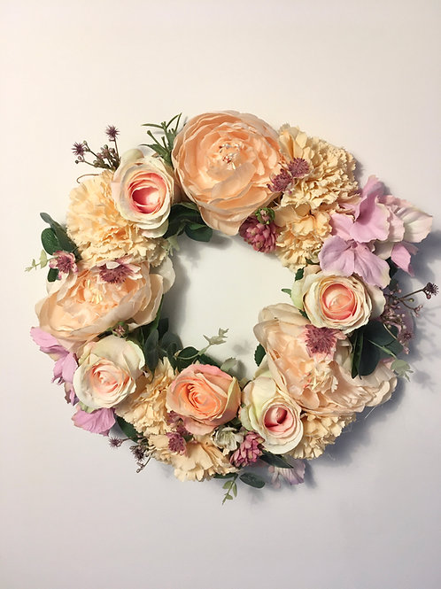 Pretty pastel peony wreath