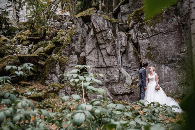Hochzeitsfotograf in der Sonne in Poppenhausen