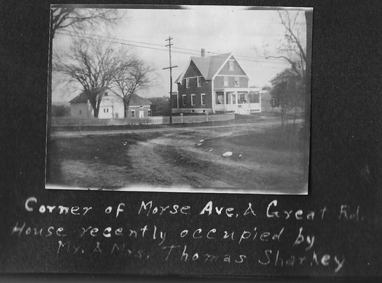 P0014 House on corner of Morse Ave and Great Rd - V Hutton Album - BW.jpg