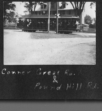 P0023 Trolley car corner of Pound Hill and Great Rd - V Hutton Album - BW.jpg