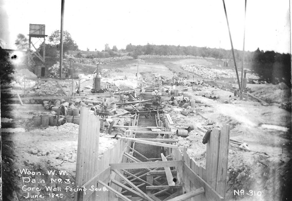 Construction of core wall - facing south