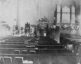 Slatersville Congregational church interior undated