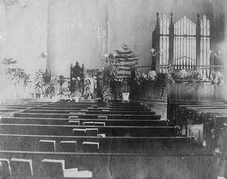 Slatersville Congregational church interior undated